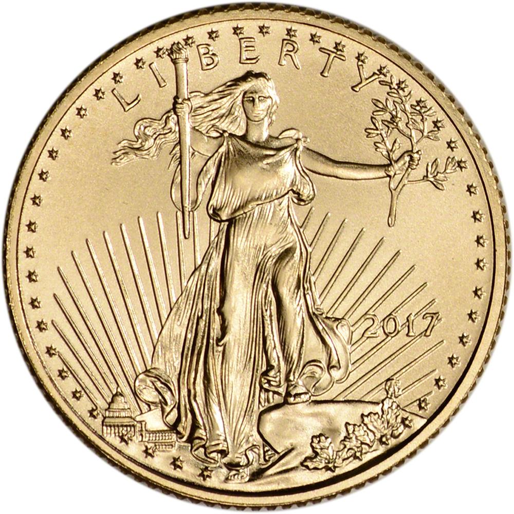 2017 American Gold Eagle 1 10 Oz 5 1 Roll Fifty 50