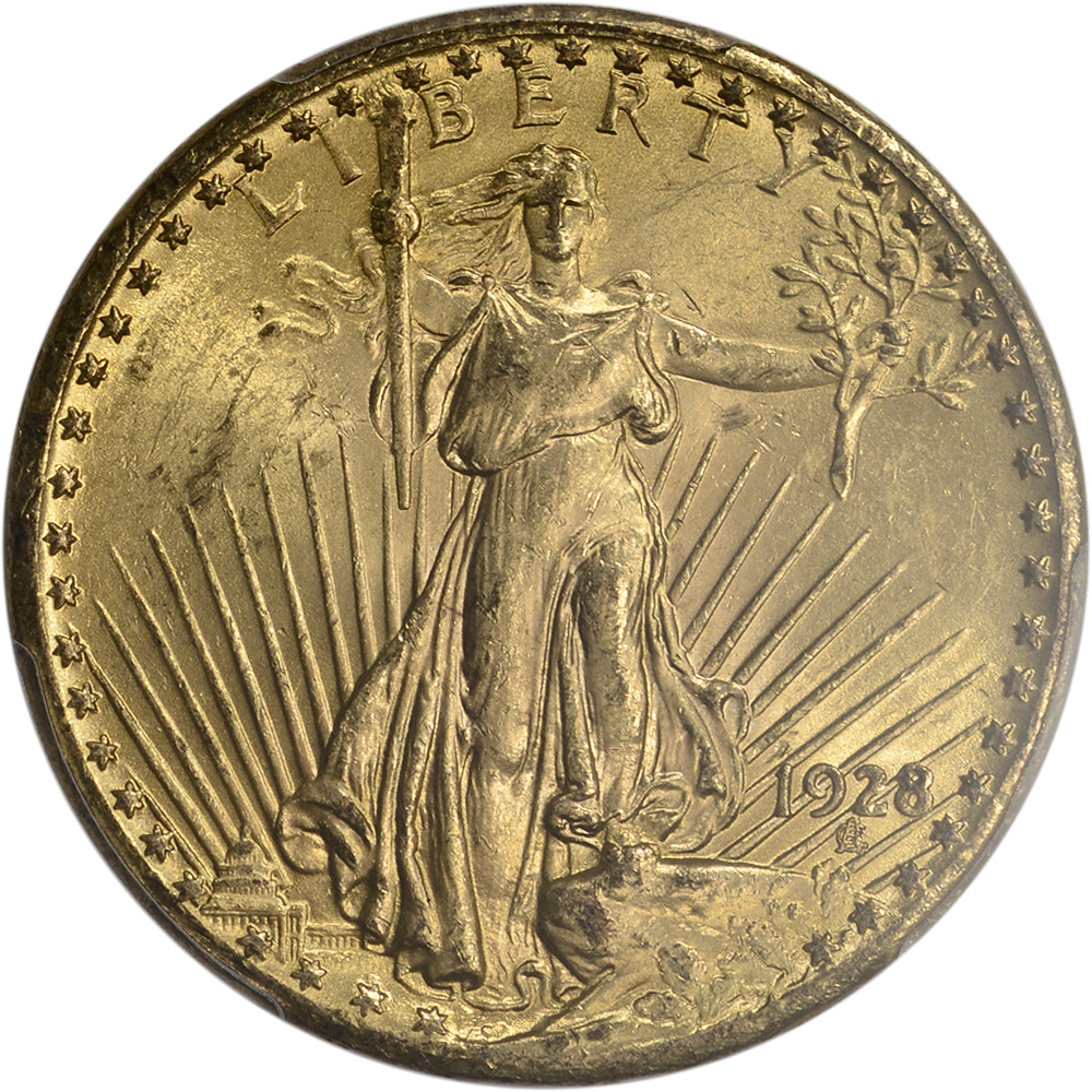 1928 us gold 20 saint gaudens double eagle pcgs ms63 ebay. Black Bedroom Furniture Sets. Home Design Ideas