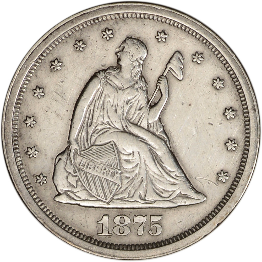 1875 S Us Seated Liberty Silver Twenty Cent Piece 20c Au