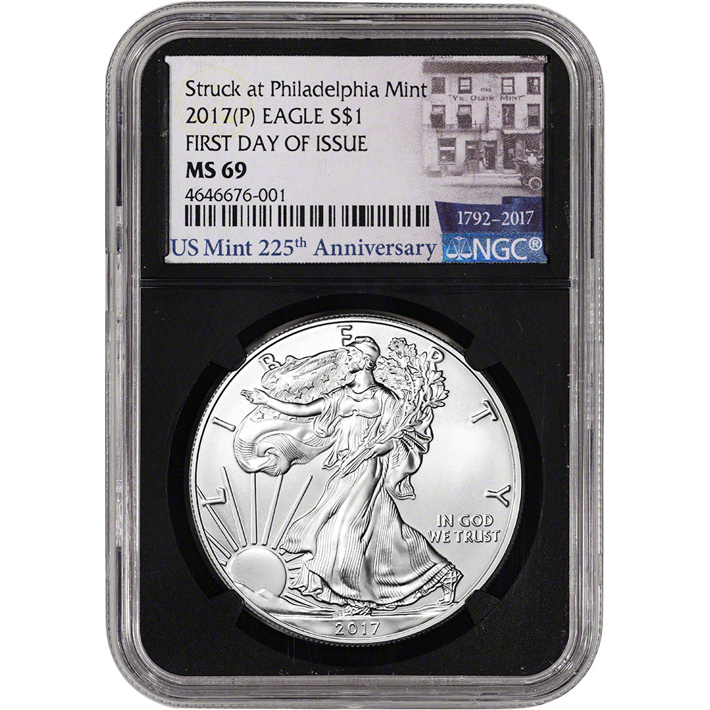 P 2017 $1 American Silver Eagle NGC MS69 FDI First Label