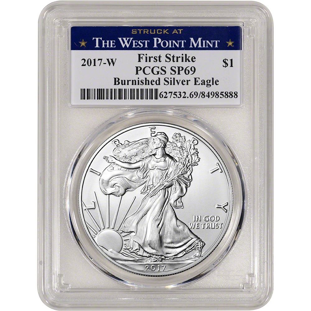 PCGS SP69 First Strike 225th Label 2017-W American Silver Eagle Burnished