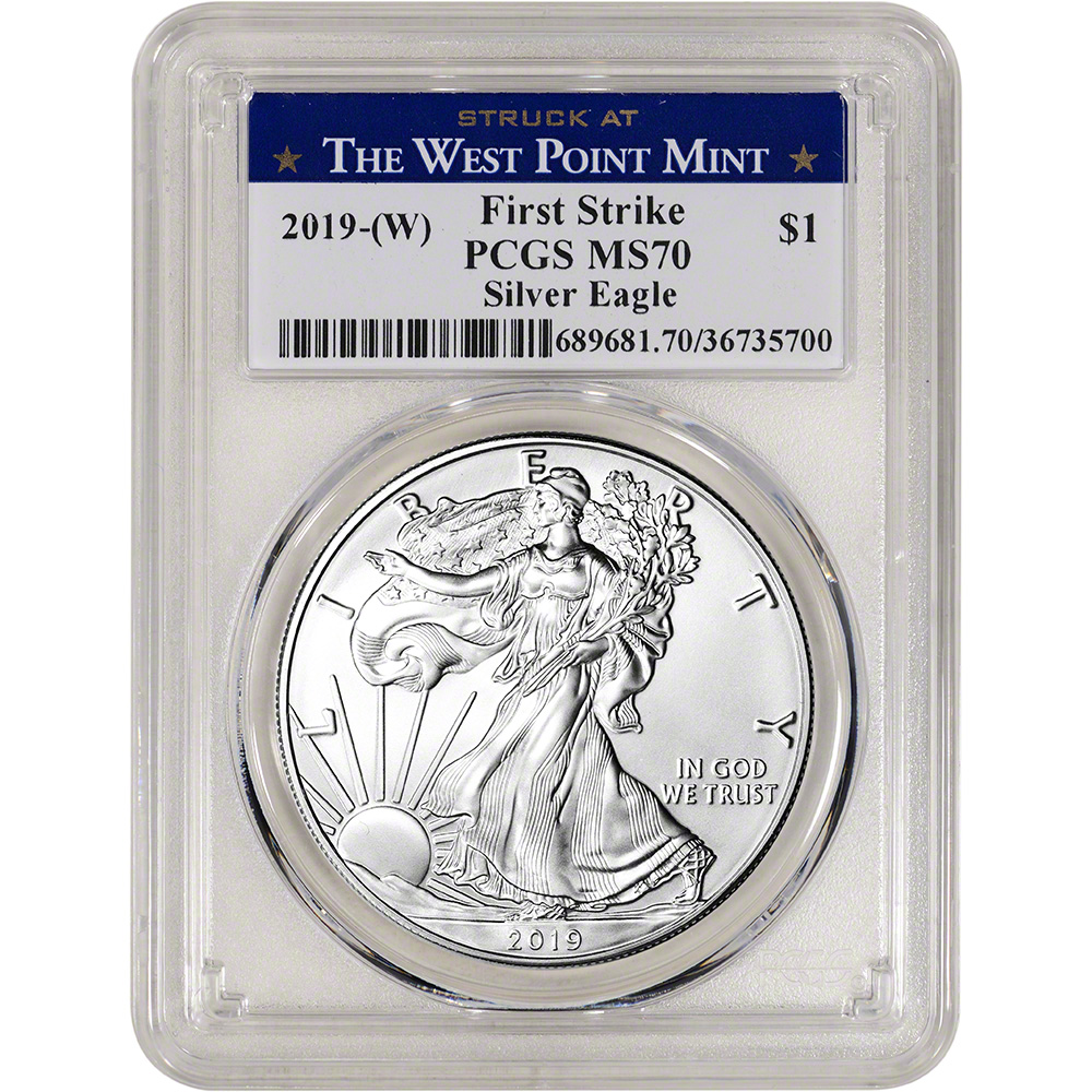 2019- PCGS MS70 First Strike Red Flag Label W American Silver Eagle