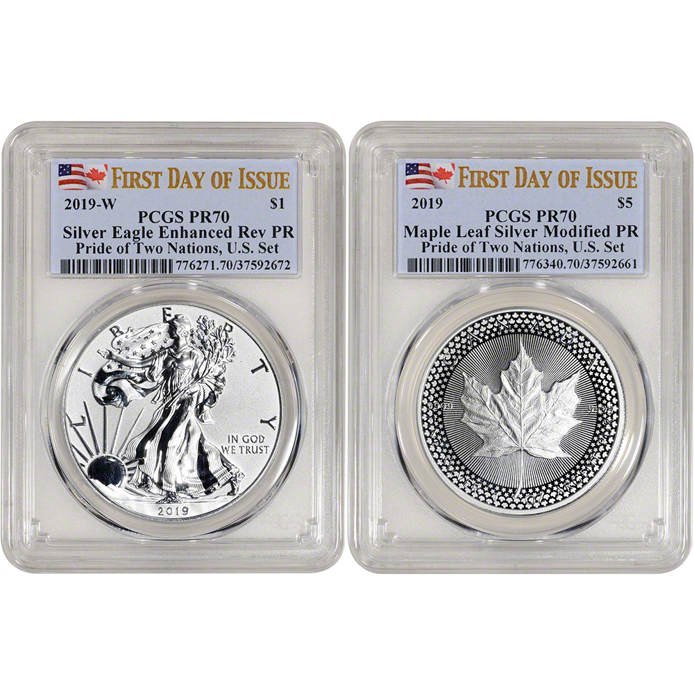 2019-W Pride of Two Nations 2pc Set PCGS PR70 First Strike Flags Label
