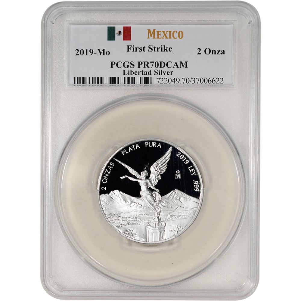 2019 Mo Mexico Silver Libertad Proof 5 oz 5 Onzas PCGS PR70 First Strike