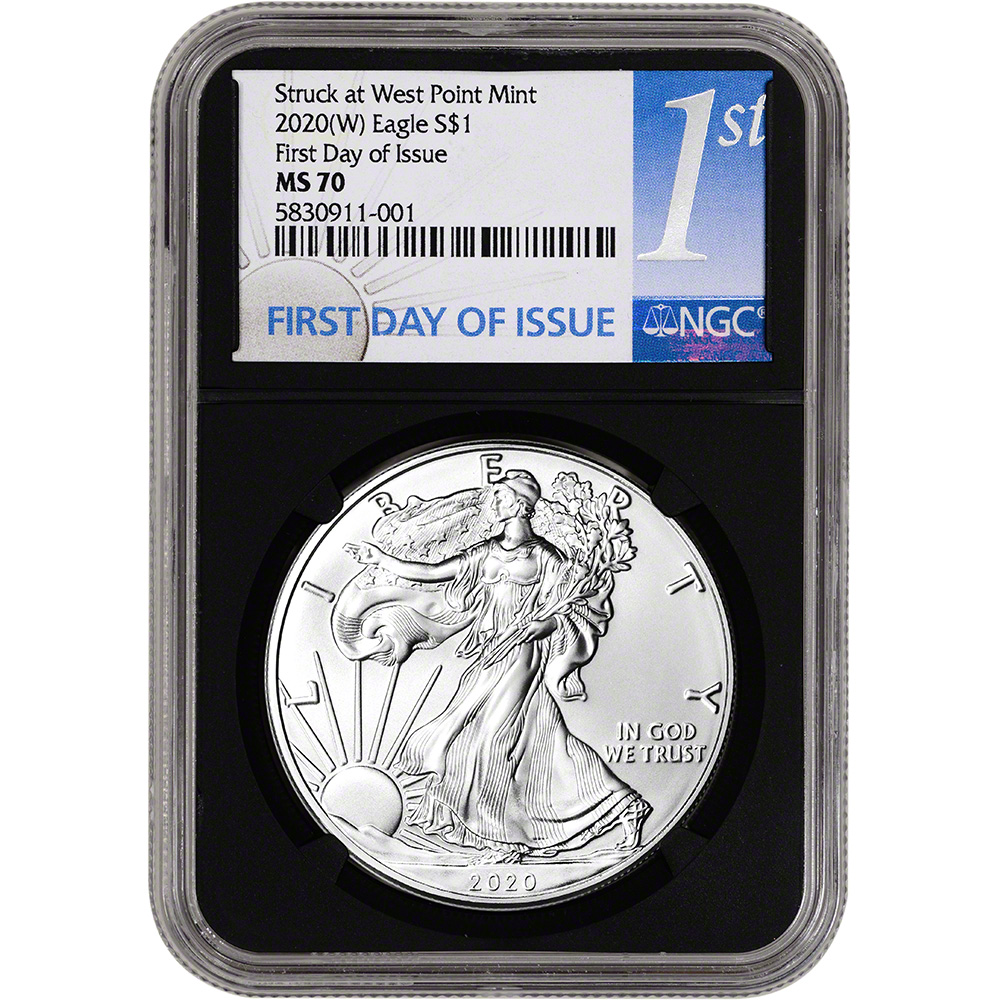 2020 Silver Eagle NGC MS70 Limited New Year/'s Edition in Flag Core Label