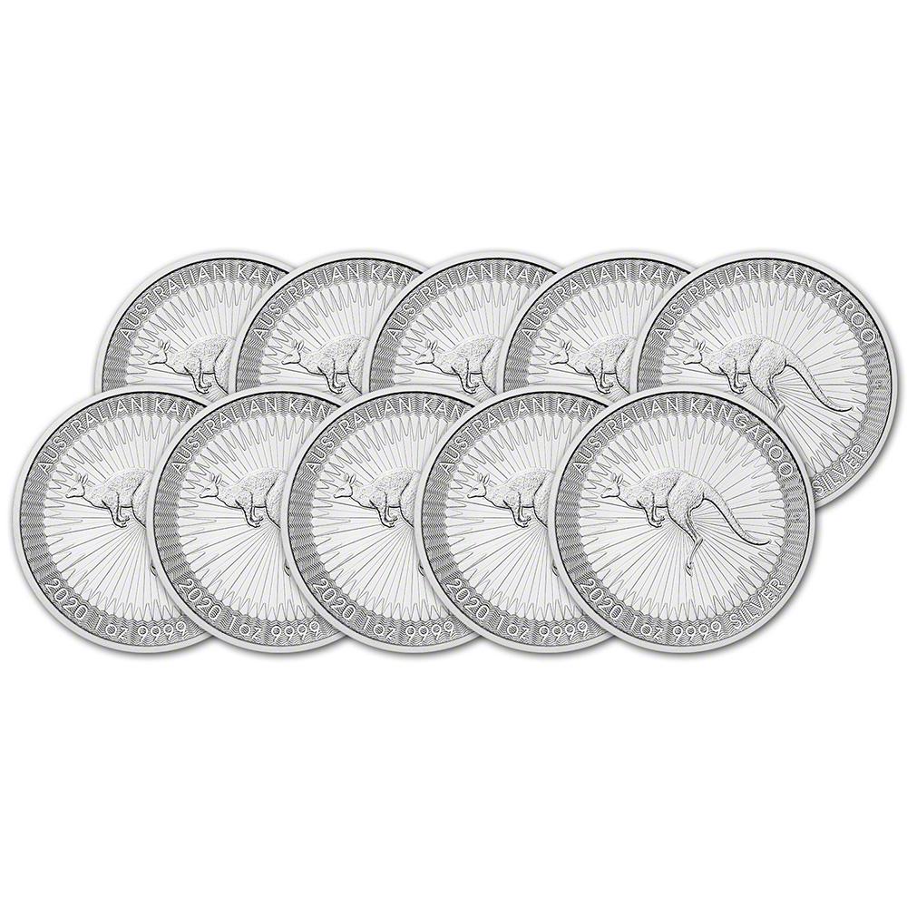 Ten 10 Coins Random Date Australia Silver Kangaroo 1 oz $1 BU