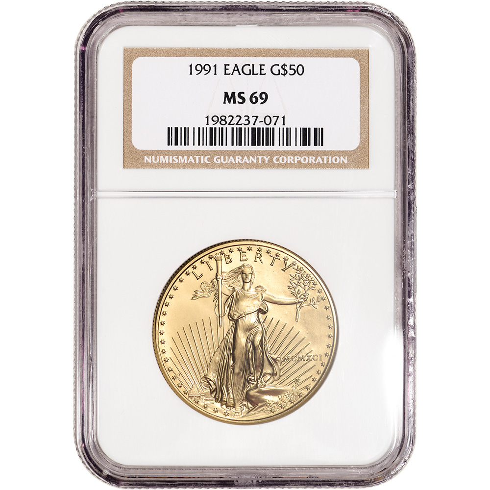 1991 American Silver Eagle NGC MS69 New Holder Brown Label Stock Photo
