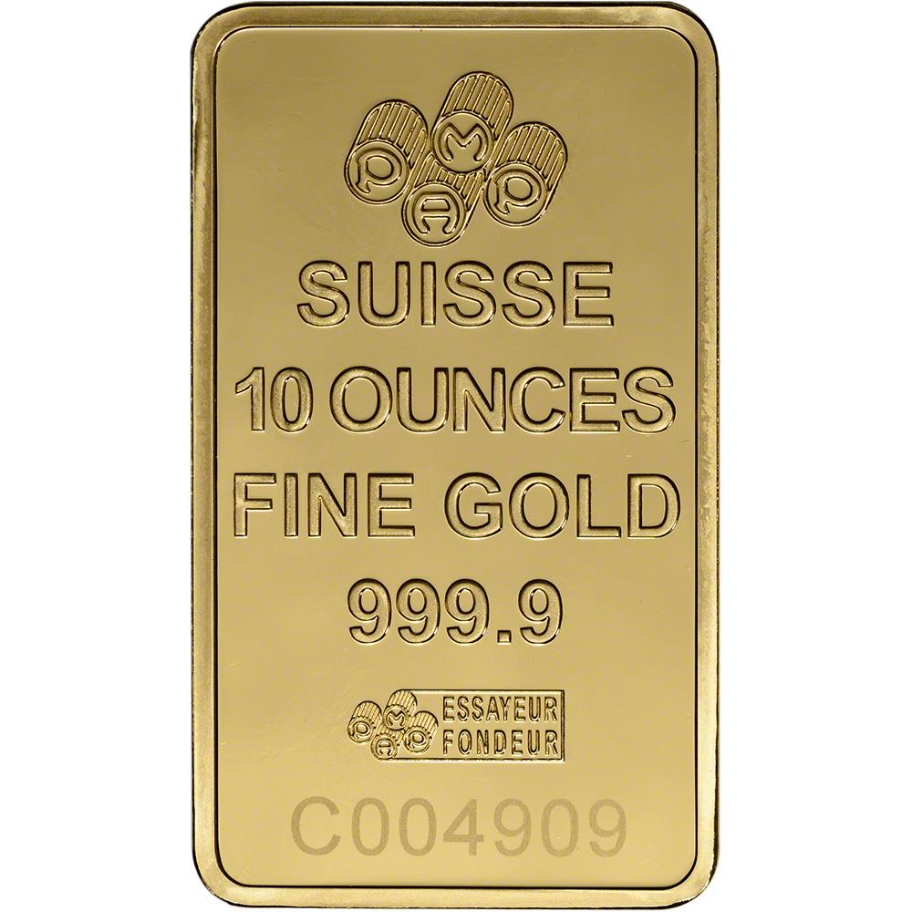 10 OUNCE PAMP SUISSE .9999 FINE GOLD BAR 10OZ.