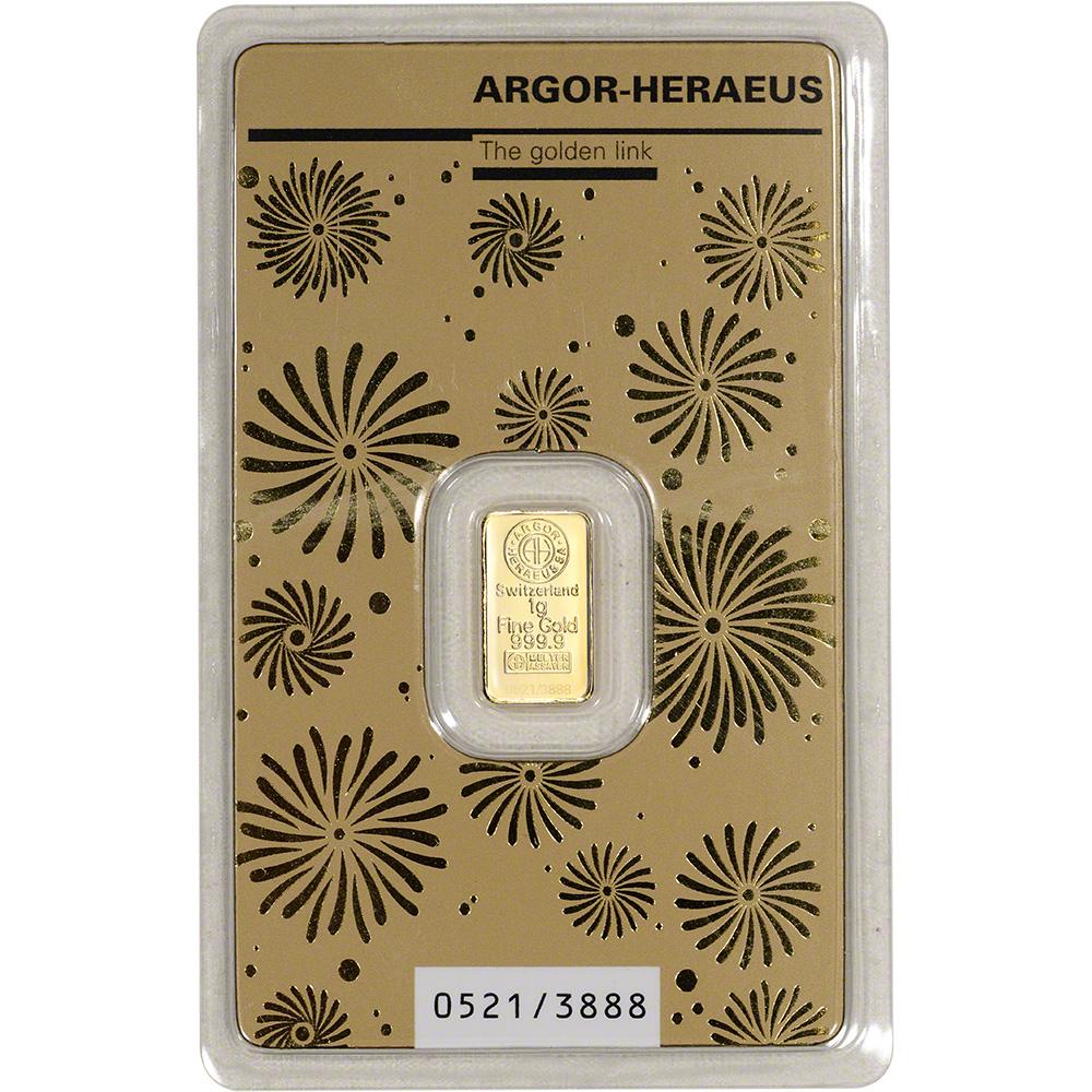 1 Gram Gold Bar Argor Heraeus 2020