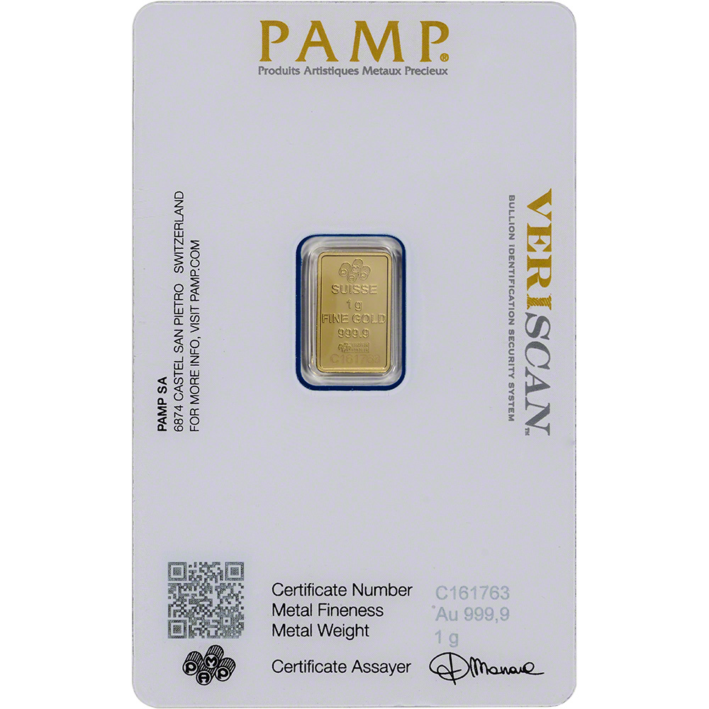 1 gram Gold Bar 999.9 Fine in Sealed Assay PAMP Suisse Fortuna