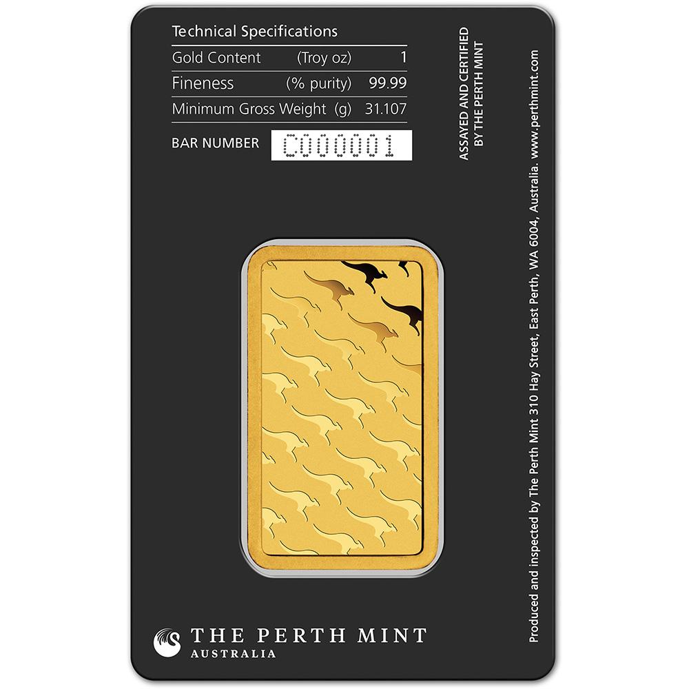 1 Oz Gold Bar Perth Mint 99 99 Fine In Assay Ebay
