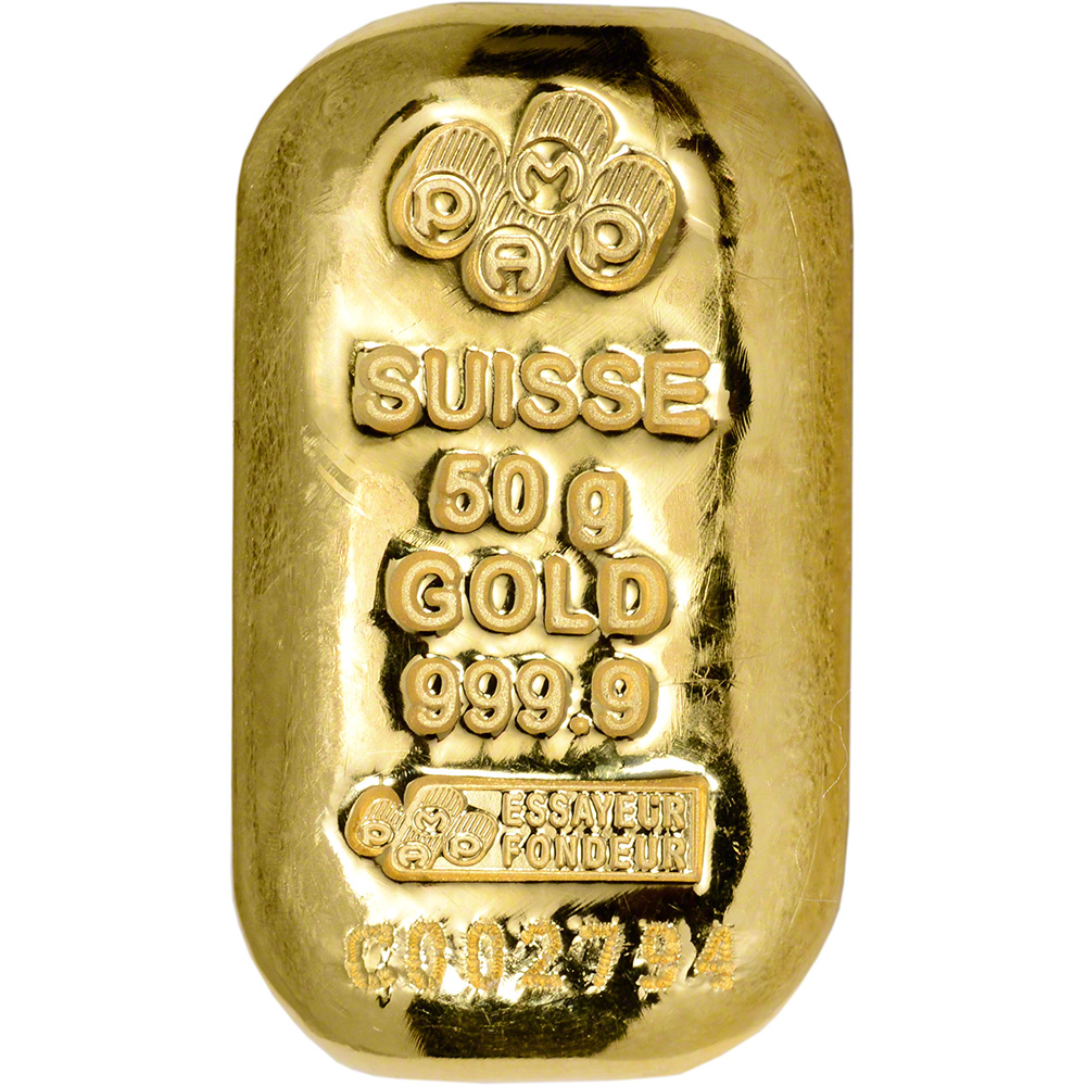 50 Gram Gold Bar Pamp Suisse Poured 999 9 Fine With Ay