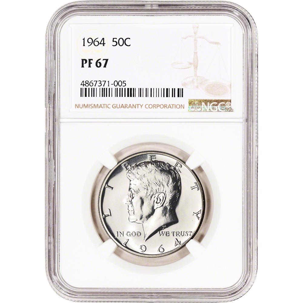 NGC PF67 1964 US Kennedy Silver Half Dollar Proof 50C