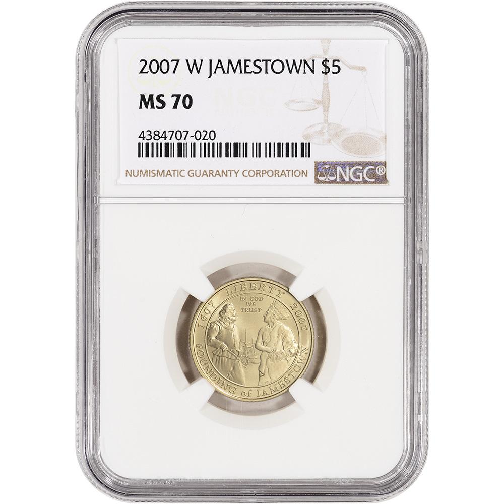 2007-W US Gold $5 Jamestown 400th Anniversary Commemorative Proof