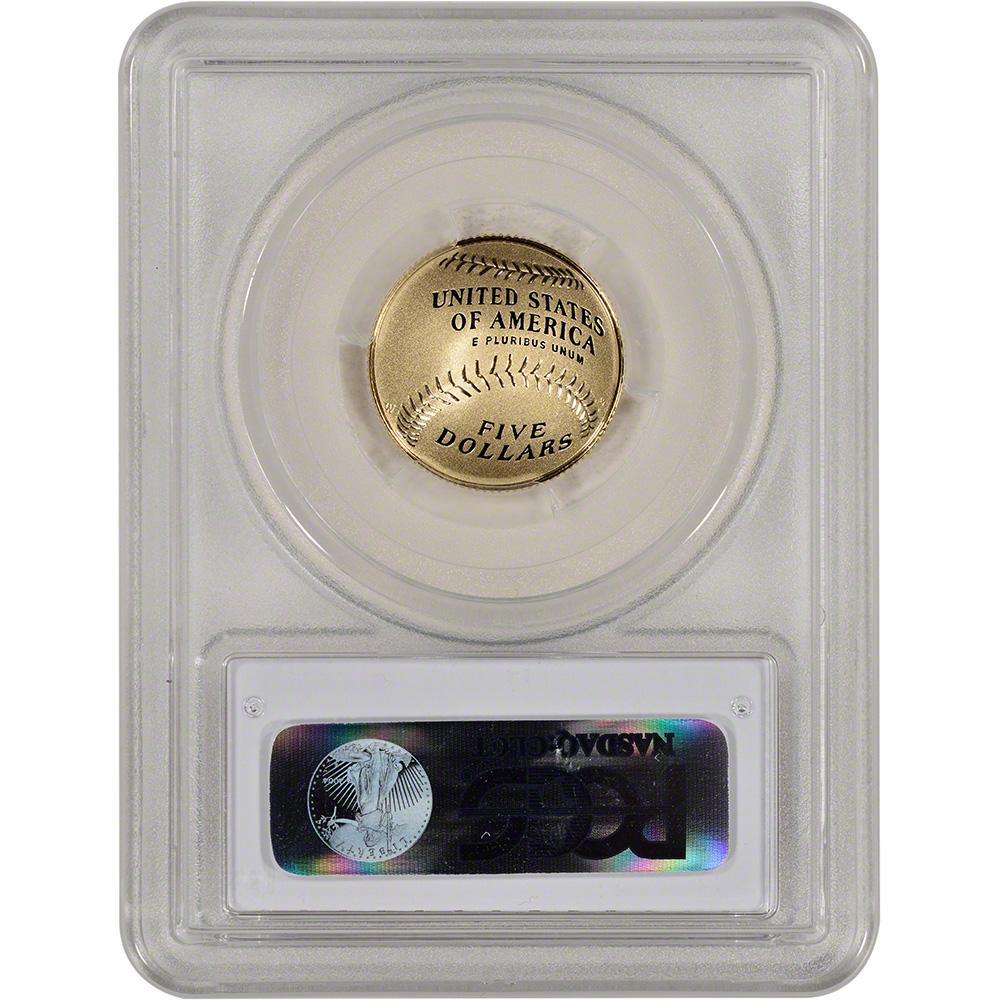 First Strike 2014-W US Gold $5 Baseball BU Hall of Fame Label PCGS MS69