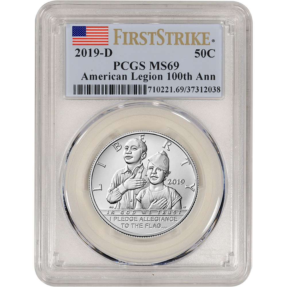 2019-P American Legion Commemorative Dollar MS70 PCGS First Strike Flag