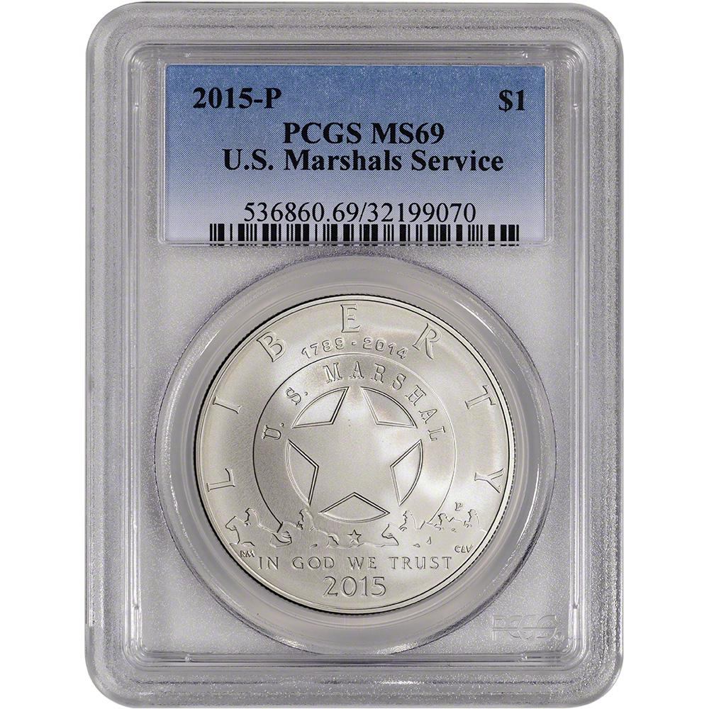 2015 P U.S Marshals Service Commemorative Silver Dollar NGC MS69