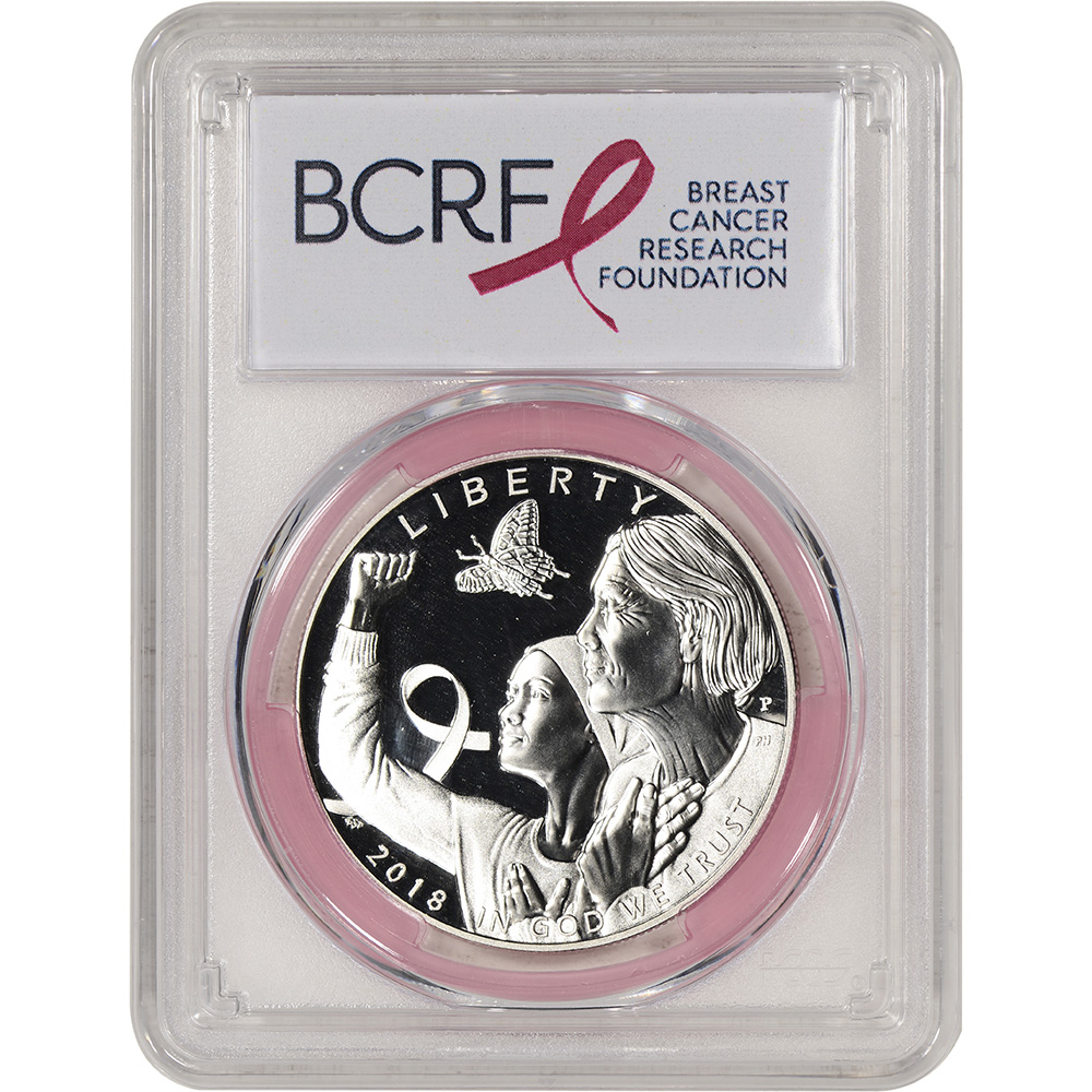 2018-P US Breast Cancer Commem BU Silver Dollar PCGS MS69 First Strike Pink