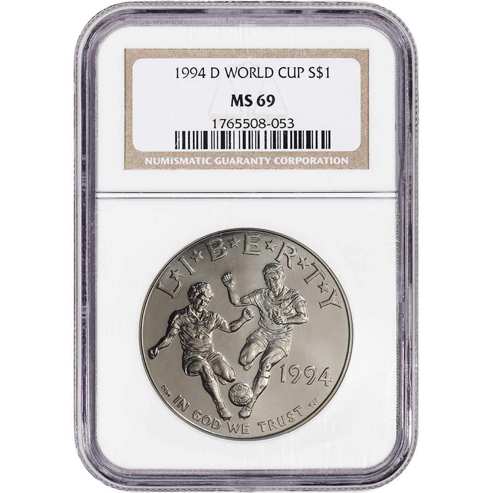 1994-D US World Cup Commemorative BU Silver Dollar PCGS MS69