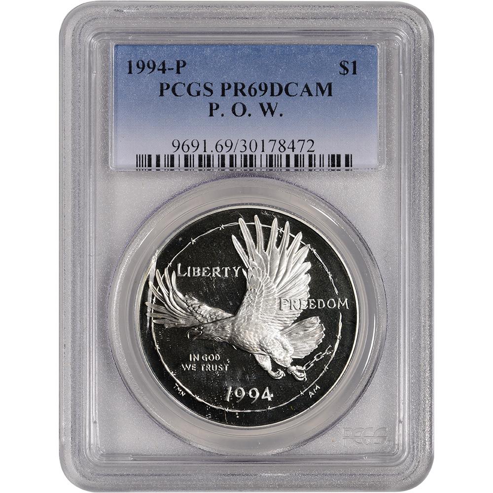 PCGS PR69 DCAM 1994-P US Prisoner of War Commemorative Proof Silver Dollar
