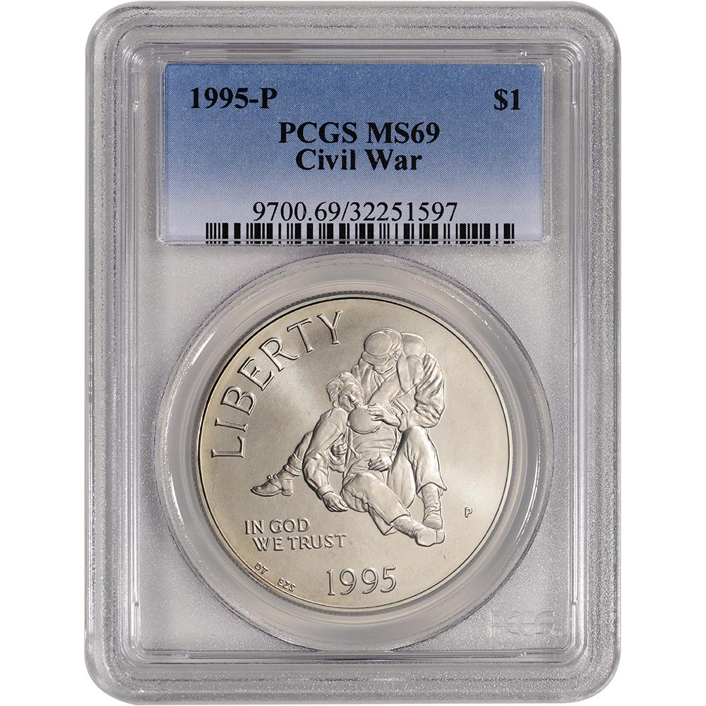 PCGS MS69 1991-D US Korean War Commemorative BU Silver Dollar