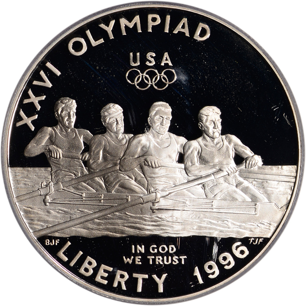 1996-P US Atlanta Olympic Rowing Commem Proof Silver Dollar PCGS PR69 DCAM