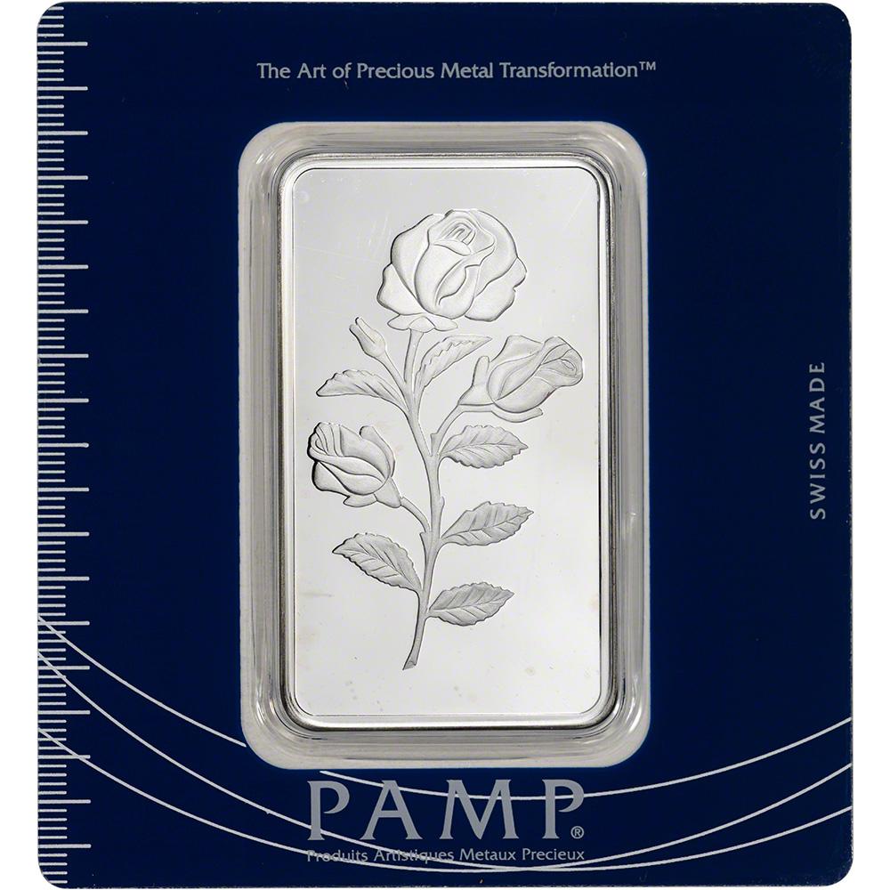100 Gram Silver Bar Pamp Suisse Rosa Rose 999 Fine In