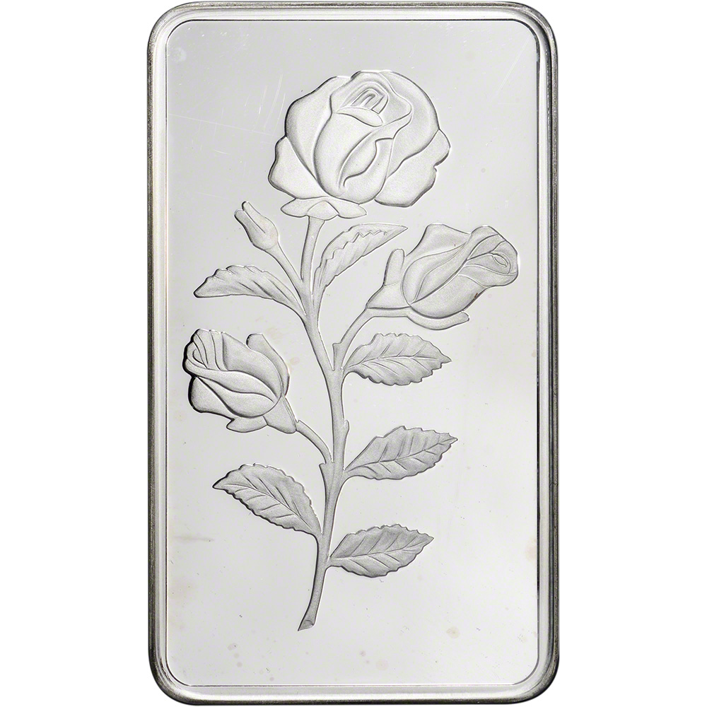 100 Gram Silver Bar Pamp Suisse Rosa Rose 999 Fine In