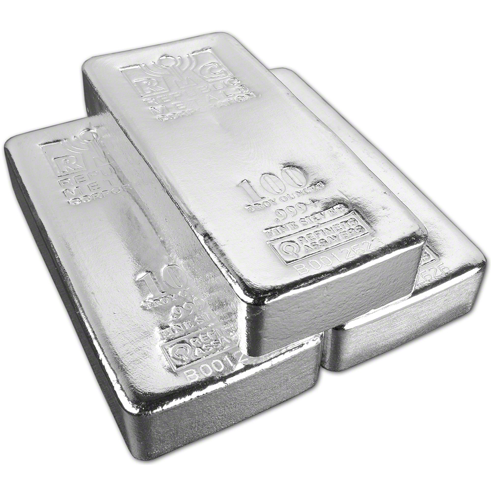 Three 3 100 Oz Rmc Silver Bar Republic Metals Corp