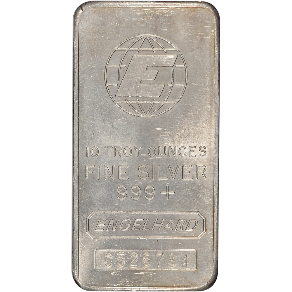 Engelhard .999 Fine Wide//Serial//Logo Silver Bar 10 oz