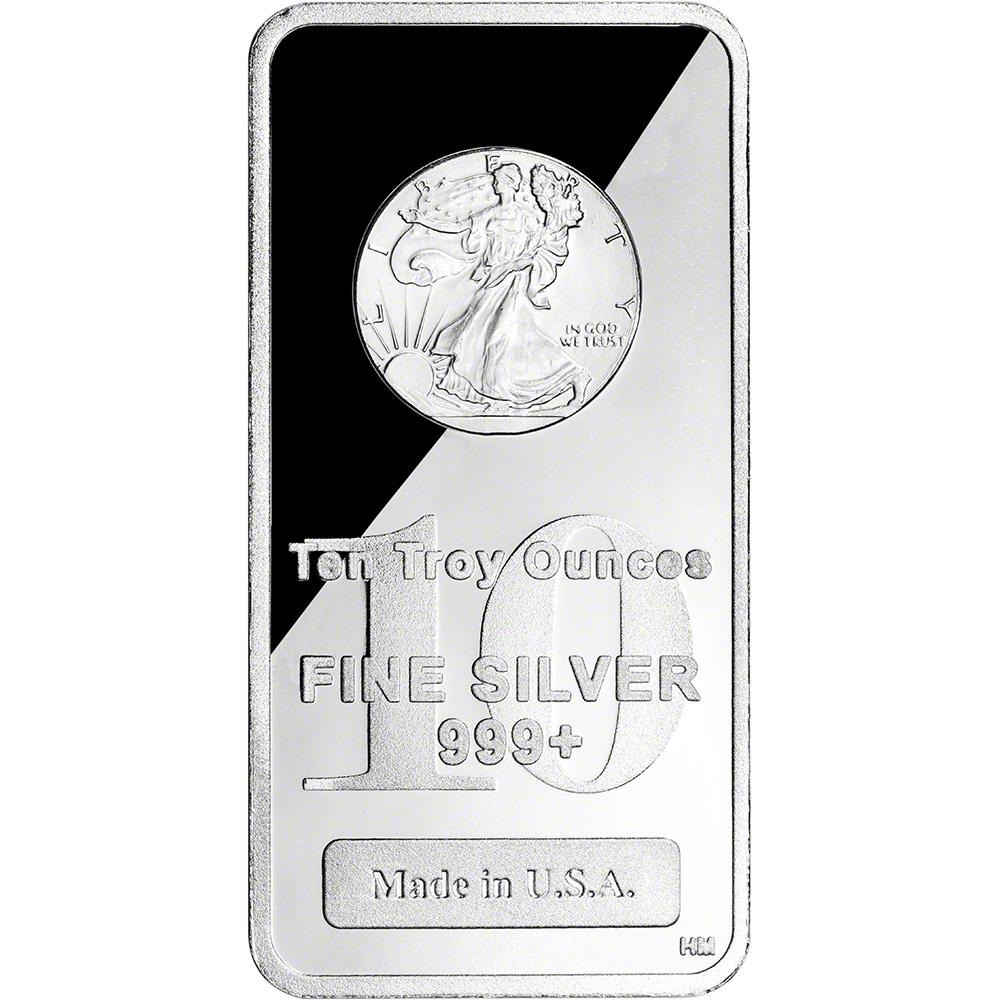 10 oz Fine Walking Liberty Design .999 Highland Mint Silver Bar