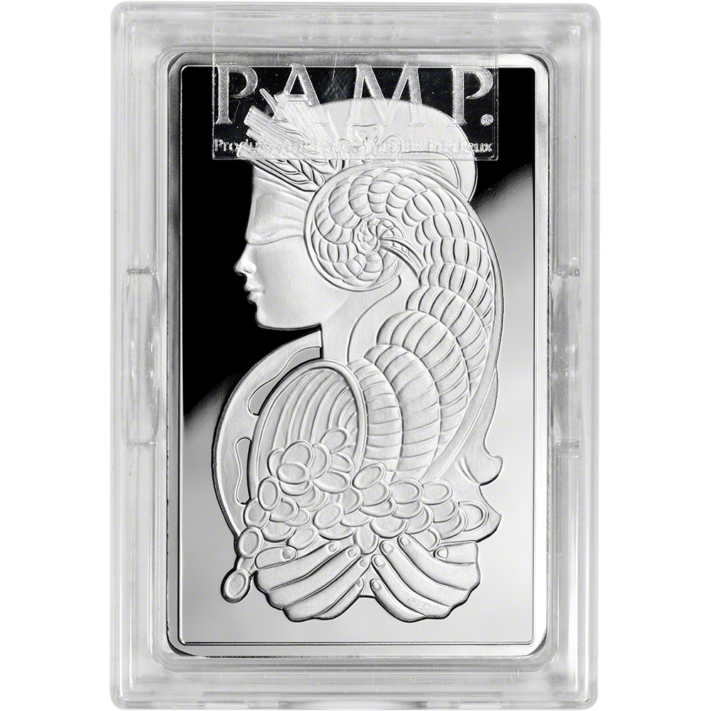 10 Oz Silver Bar Pamp Suisse Fortuna 999 Fine In Plastic Case With Ay