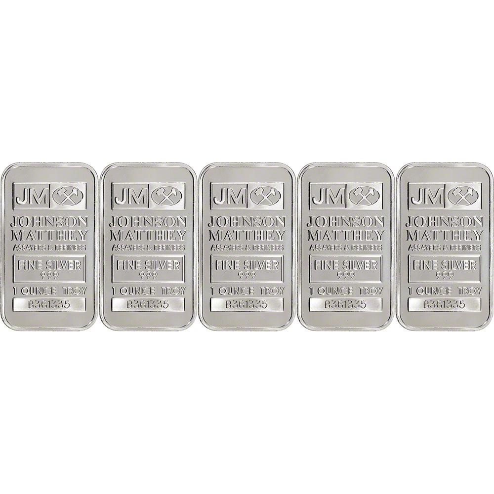 Sealed New w// Serial # Johnson Matthey .999 Fine JM Silver Bar 1 oz