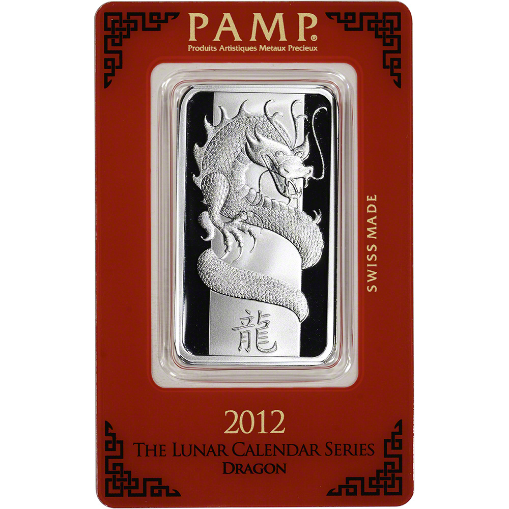 1 Oz Silver Bar Pamp Suisse Lunar Year Of The Dragon