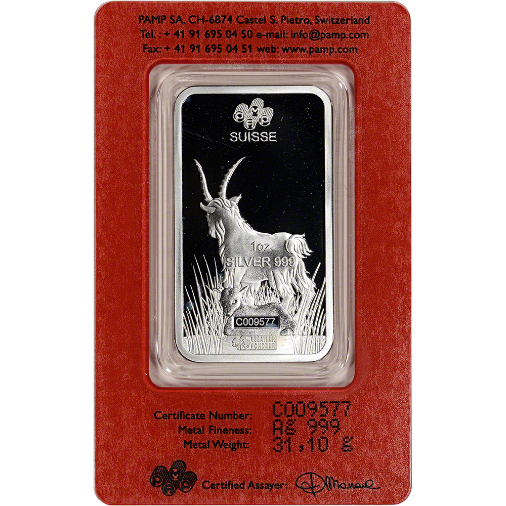 1 Oz Silver Bar Pamp Suisse Lunar Year Of The Goat