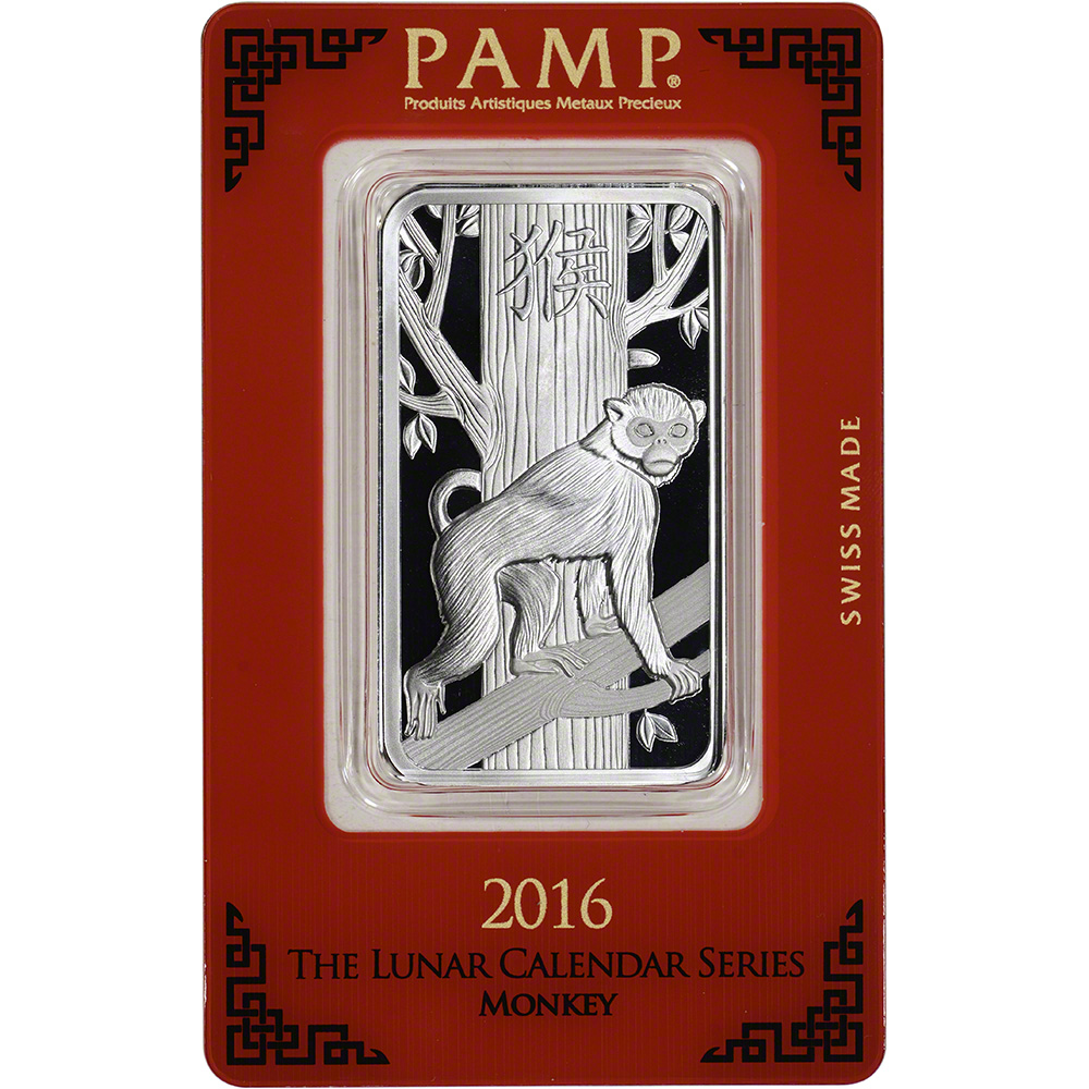 1 Oz Silver Bar Pamp Suisse Lunar Year Of The Monkey