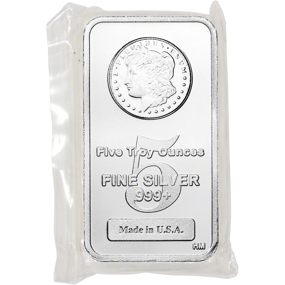 Morgan Dollar Design .999 Fine Highland Mint Silver Bar 5 oz