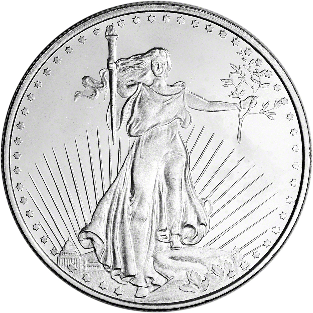 Lot of 2-1 Troy oz Saint Gaudens Design .999 Fine Silver Round