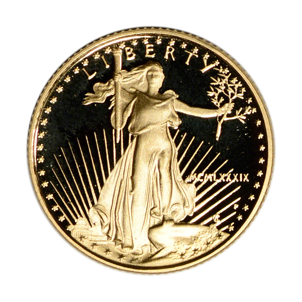 1989-P Proof • 1//10 oz Gold American Eagle $5 Coin OGP Box /& COA • MINT Key Date
