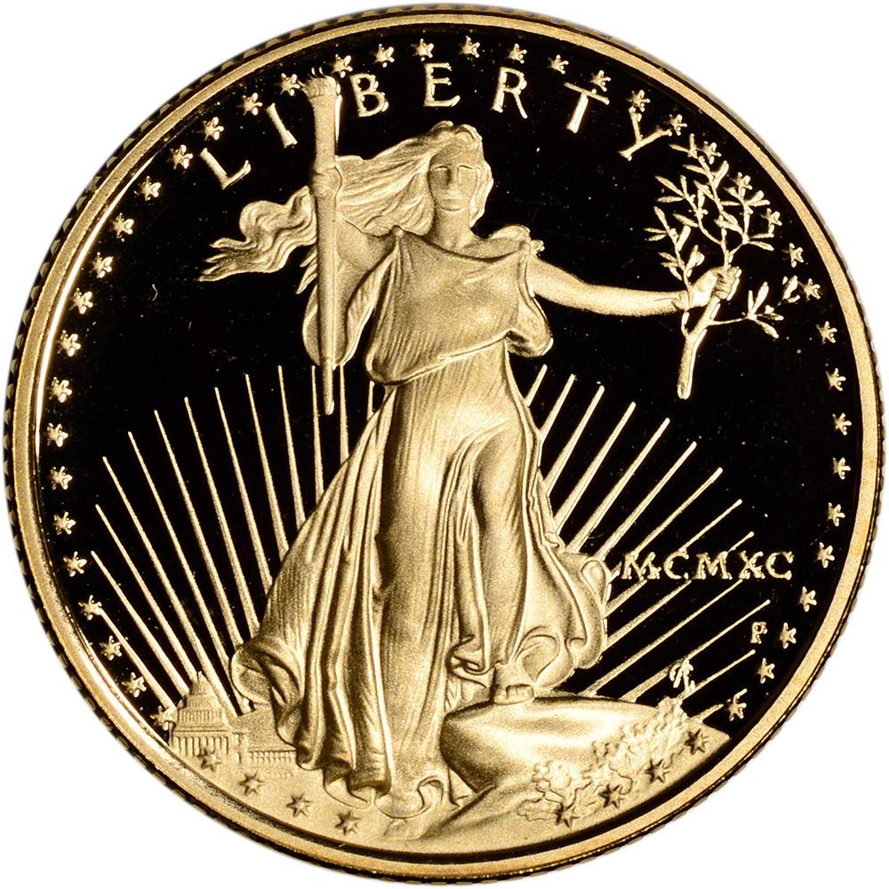 1990 P American Gold Eagle Proof 1 4 Oz 10 In Ogp Ebay