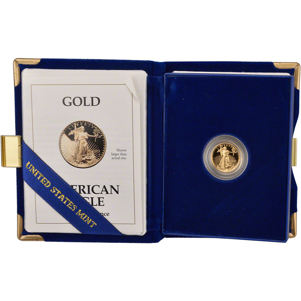 1993 P American Gold Eagle Proof 1 10 Oz 5 In Ogp