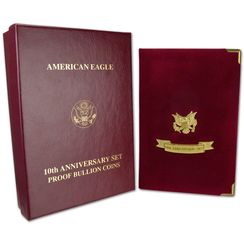1995 10th ANNIVERSARY AMERICAN EAGLES 5 COIN SET PRESENTATION BOX COA NO COINS