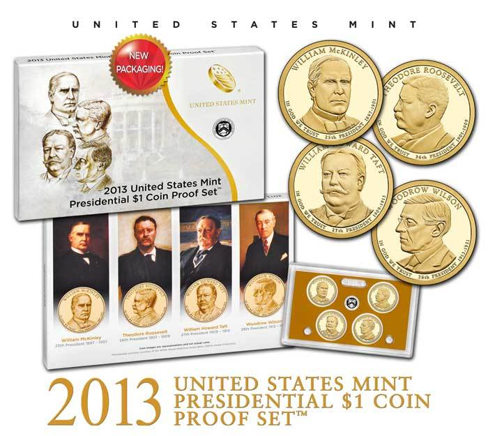2013 D Presidential Dollar 4 Coin Set Denver Mint Fast Shipping