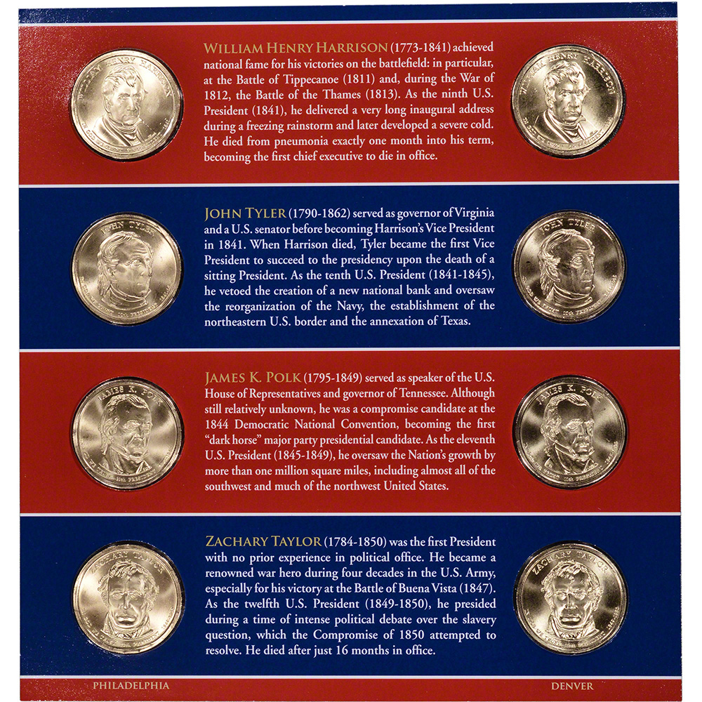 2010 Presidential $1 Uncirculated SEALED Set 8 Golden BU Dollars US Mint P/&D