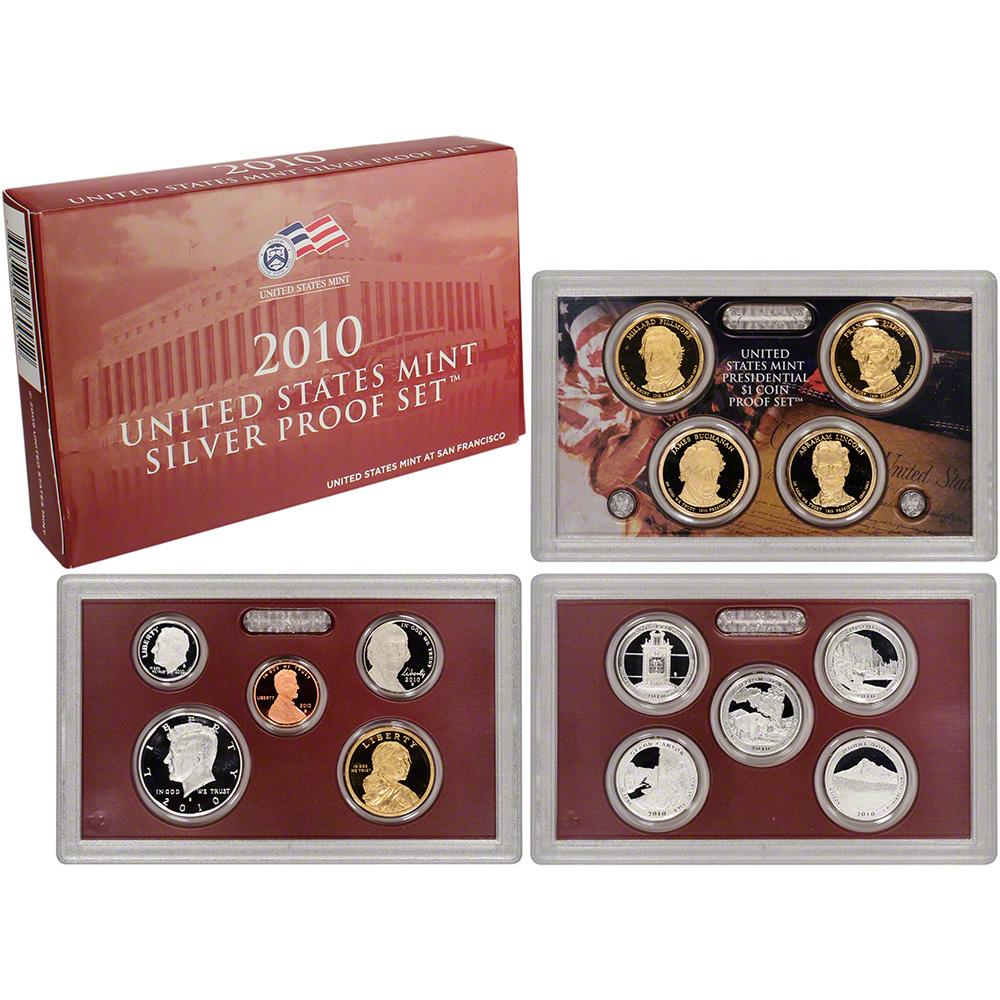 United States Mint 2010 America The Beautiful Quarters Silver Proof Set.Box,COA