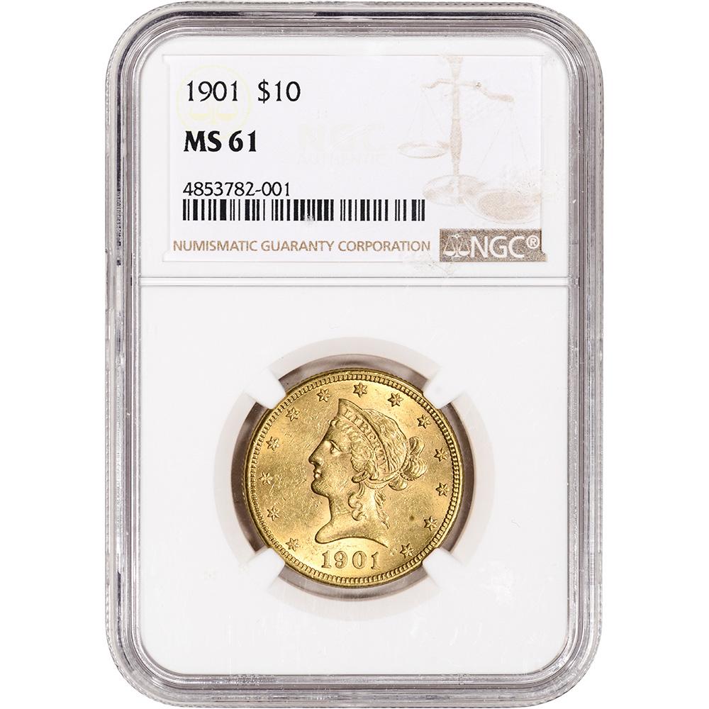 Random Date PCGS MS61 US Gold $10 Liberty Head Eagle