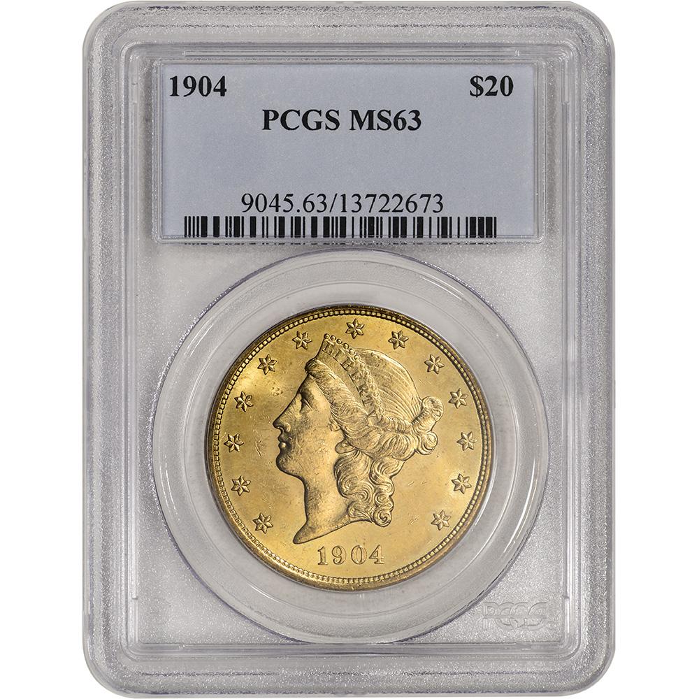 Random Date US Gold $20 Liberty Head Double Eagle PCGS MS63