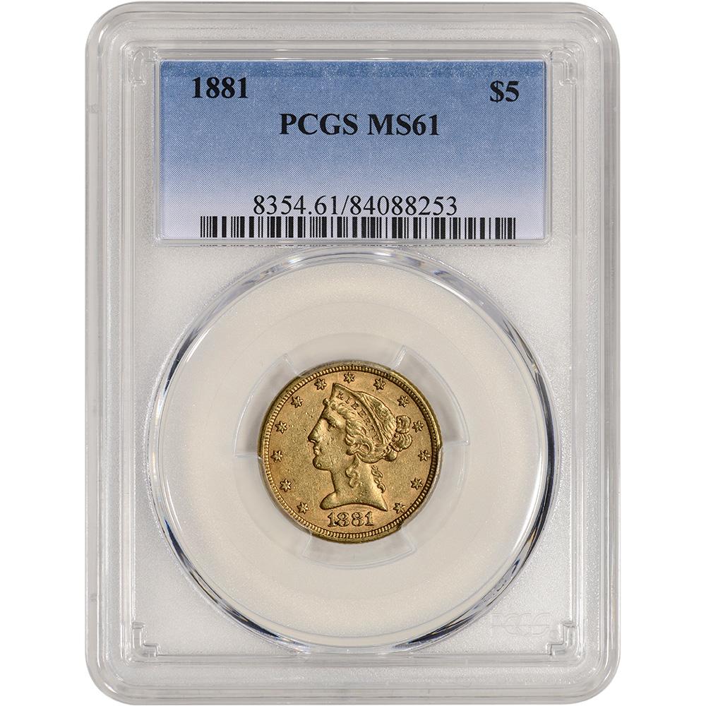 US Gold $5 Indian Head Half Eagle NGC MS61 Random Date